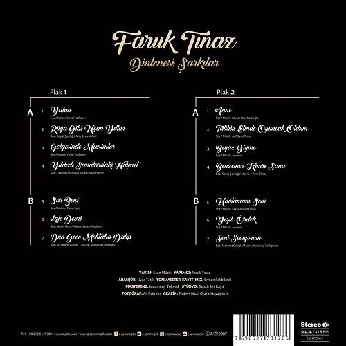 Satılık Plak Faruk Tınaz Dinlenesi Şarkılar Plak Arka
