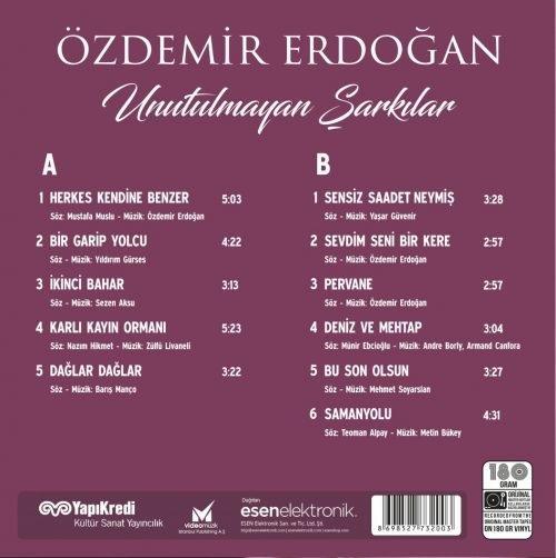 Satılık Plak Özdemir Erdoğan Unutulmayan Şarkılar Plak Arka Kapak